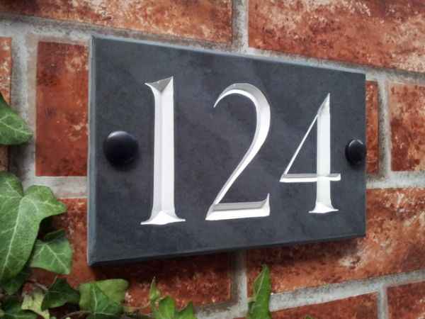 House Number Plaques Slate: Slate Three Digit House Number Sign 160mm X 100mm 6.3